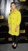 Leona Lewis looking fierce in her oversized yellow coat